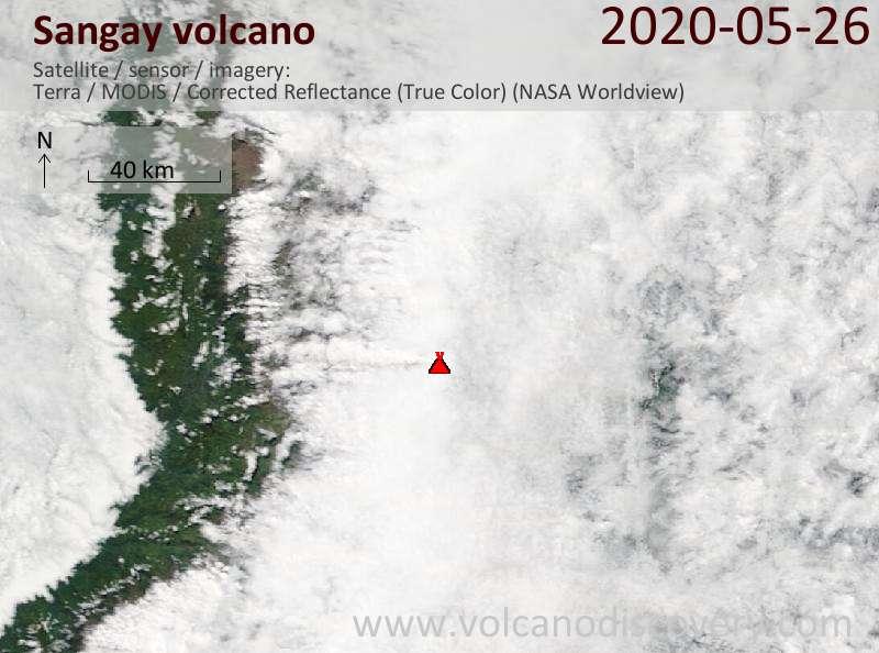 Спутниковое изображение вулкана Sangay 27 May 2020