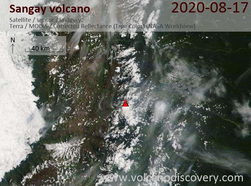 Satellite image of Sangay volcano on 17 Aug 2020