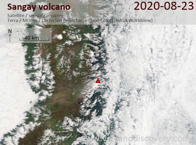 Satellite image of Sangay volcano on 23 Aug 2020