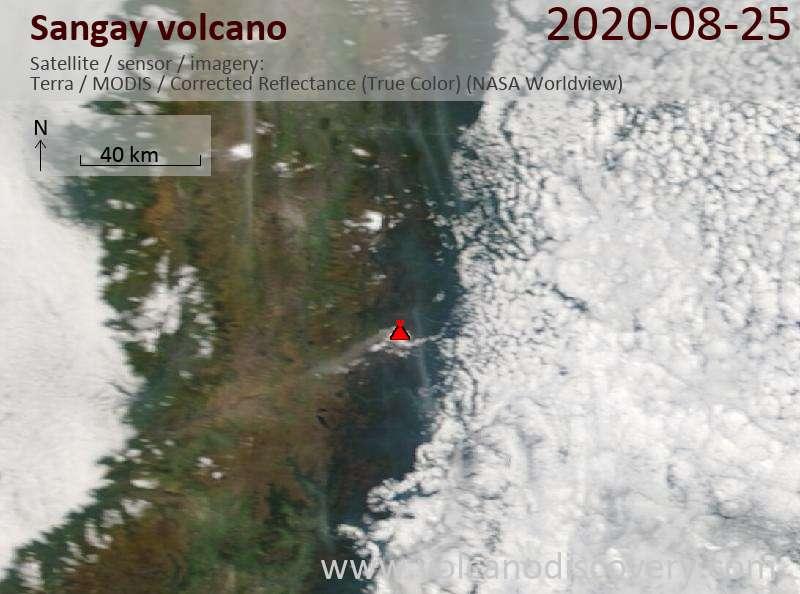 Satellite image of Sangay volcano on 25 Aug 2020