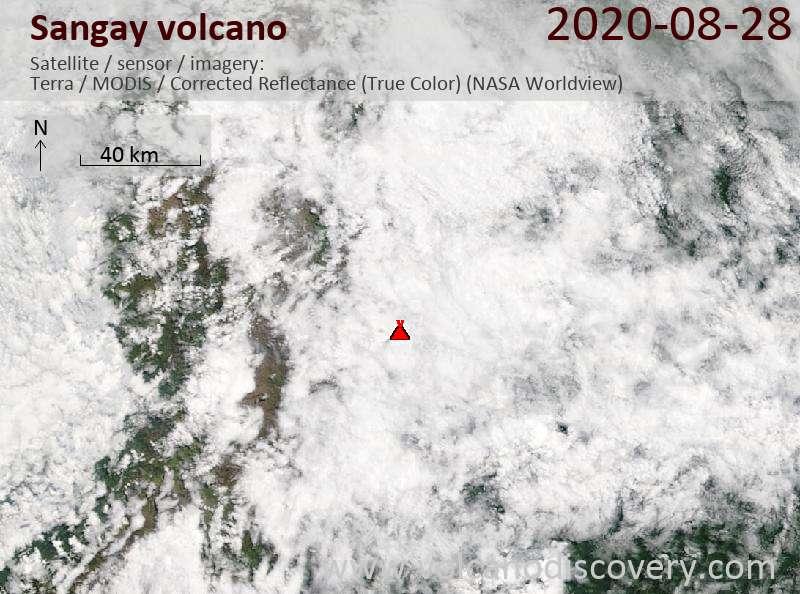 Satellite image of Sangay volcano on 28 Aug 2020
