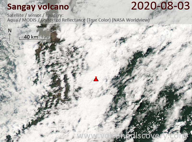 Satellite image of Sangay volcano on  4 Aug 2020