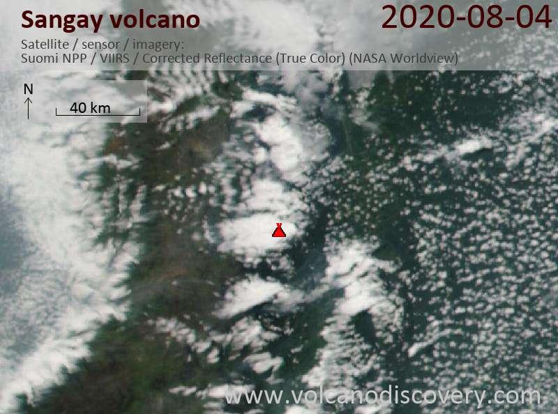 Satellite image of Sangay volcano on  5 Aug 2020