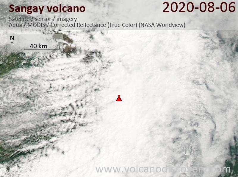 Satellite image of Sangay volcano on  6 Aug 2020