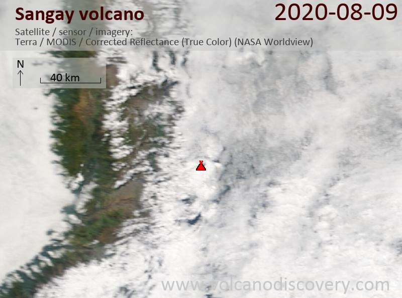 Satellite image of Sangay volcano on  9 Aug 2020
