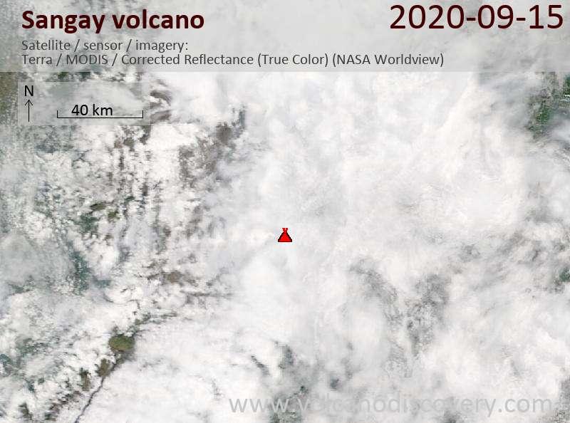 Satellitenbild des Sangay Vulkans am 15 Sep 2020