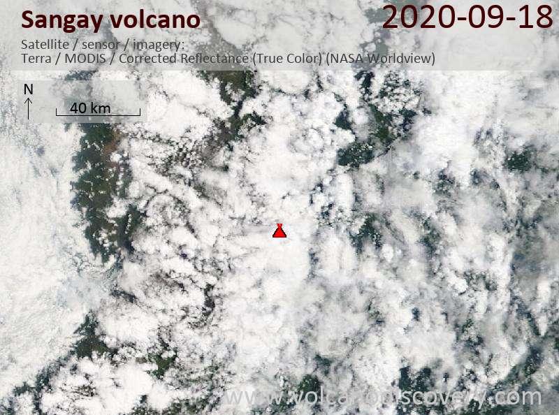 Satellite image of Sangay volcano on 19 Sep 2020