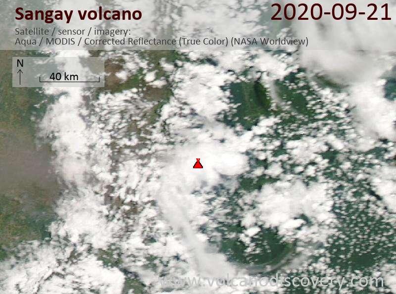 Satellite image of Sangay volcano on 22 Sep 2020