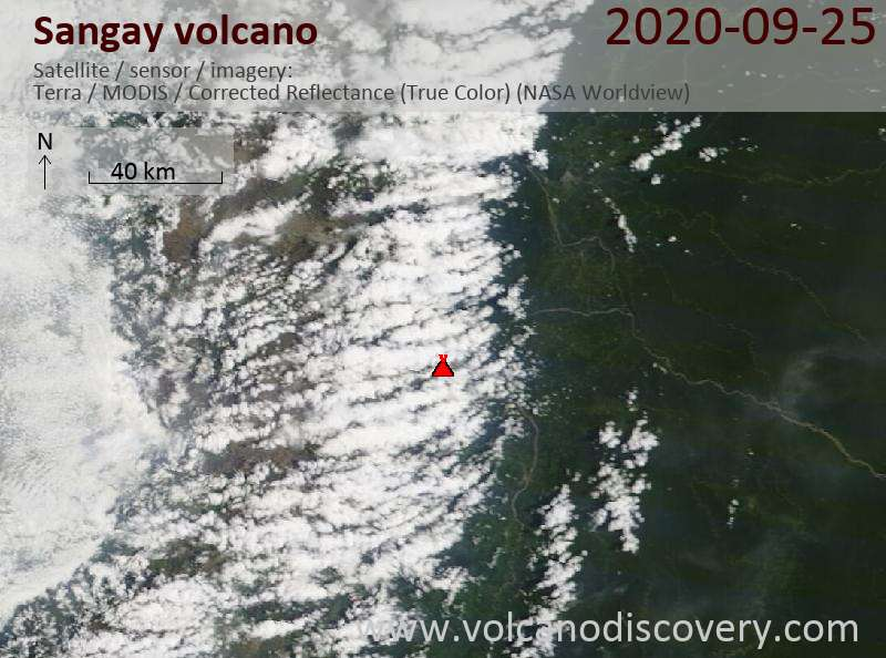 Satellite image of Sangay volcano on 25 Sep 2020