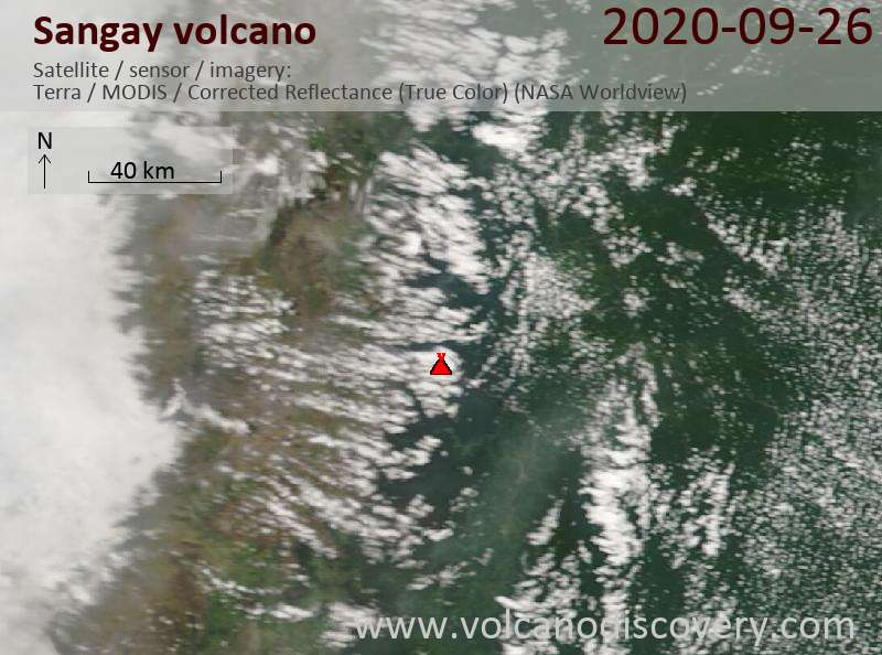 Satellite image of Sangay volcano on 26 Sep 2020