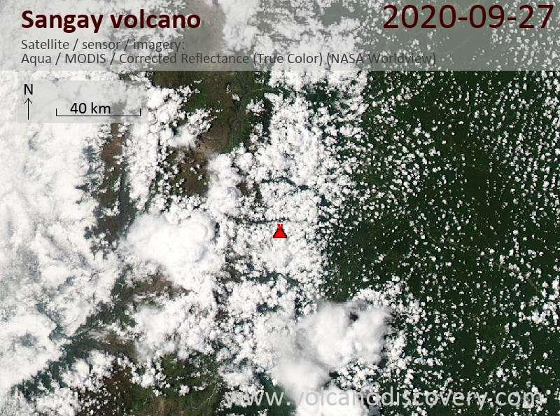 Satellite image of Sangay volcano on 28 Sep 2020