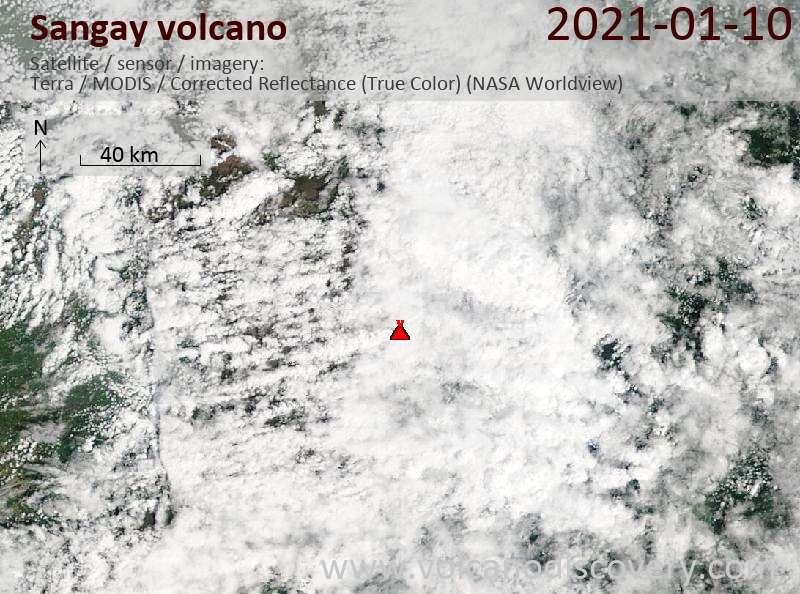 Satellite image of Sangay volcano on 10 Jan 2021