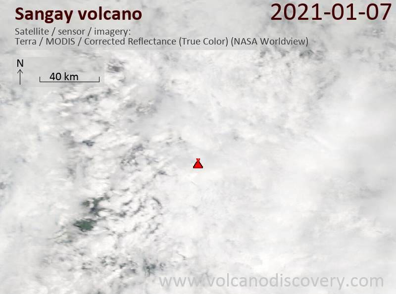 Satellite image of Sangay volcano on  7 Jan 2021