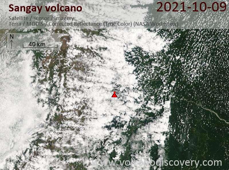 Satellite image of Sangay volcano on 10 Oct 2021