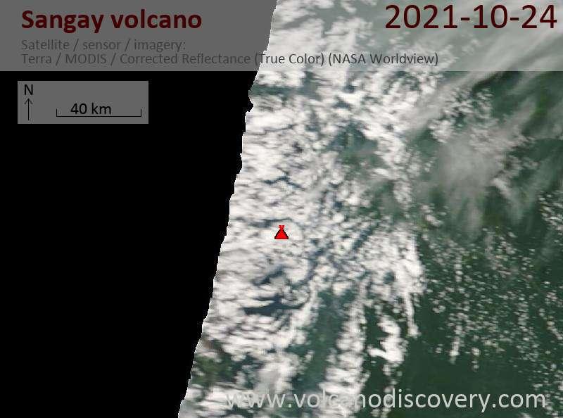 Satellite image of Sangay volcano on 24 Oct 2021