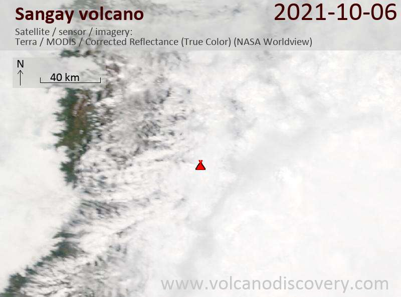 Satellite image of Sangay volcano on  6 Oct 2021