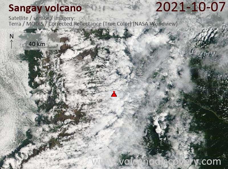Satellite image of Sangay volcano on  8 Oct 2021