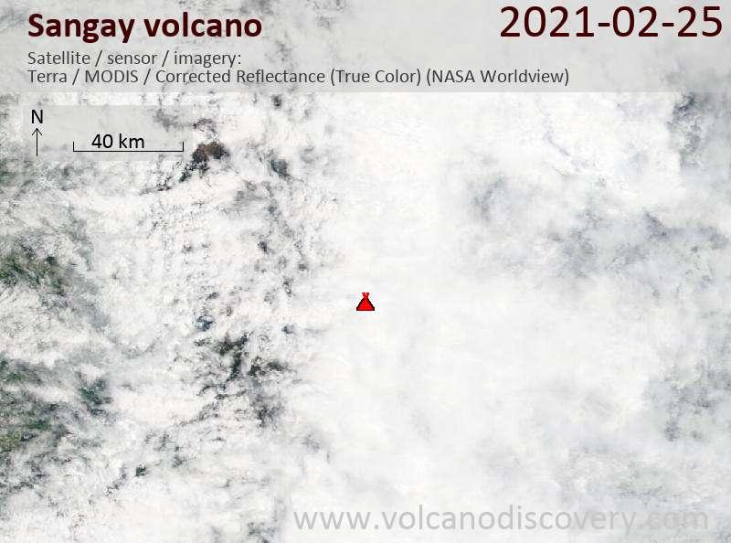 Satellite image of Sangay volcano on 26 Feb 2021