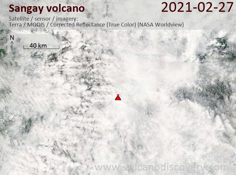 Satellite image of Sangay volcano on 27 Feb 2021