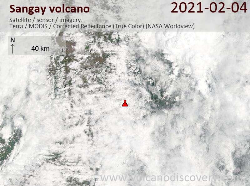 Satellite image of Sangay volcano on  4 Feb 2021