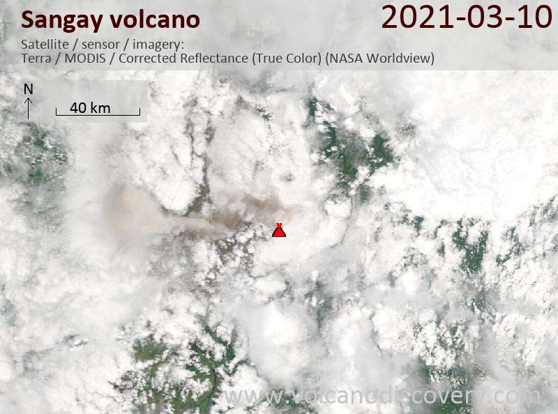 Satellite image of Sangay volcano on 11 Mar 2021