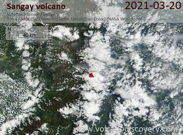 Satellite image of Sangay volcano on 20 Mar 2021