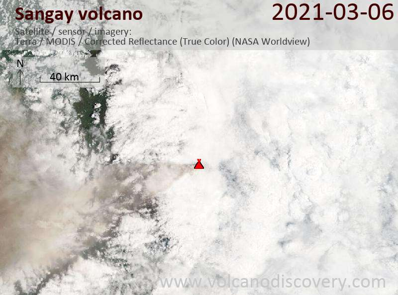 Satellite image of Sangay volcano on  6 Mar 2021