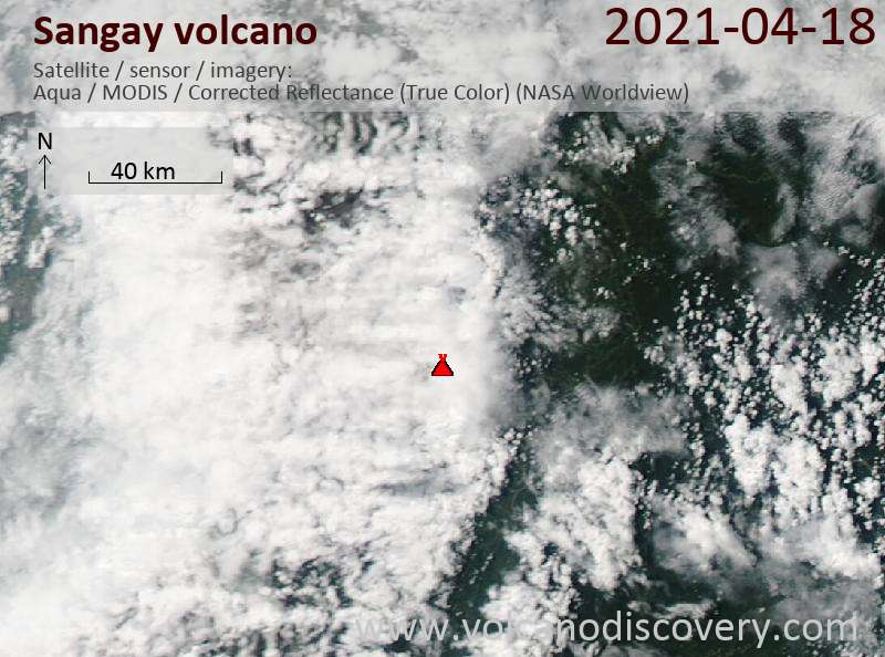 Satellite image of Sangay volcano on 19 Apr 2021