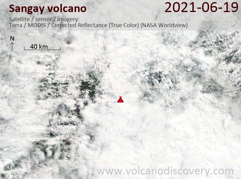 Satellite image of Sangay volcano on 20 Jun 2021