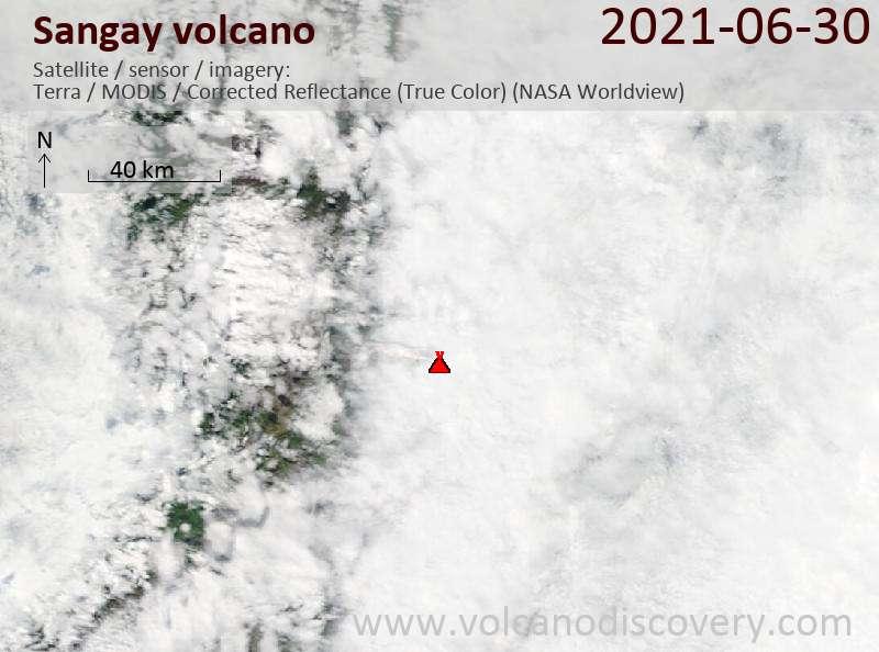 Satellite image of Sangay volcano on  1 Jul 2021