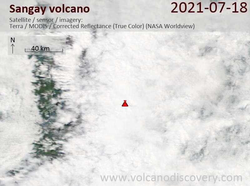Satellite image of Sangay volcano on 19 Jul 2021