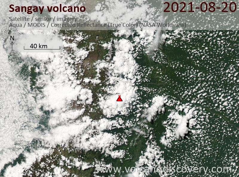 Satellite image of Sangay volcano on 21 Aug 2021