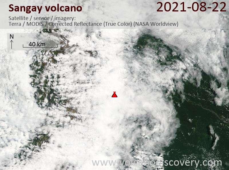 Satellite image of Sangay volcano on 23 Aug 2021