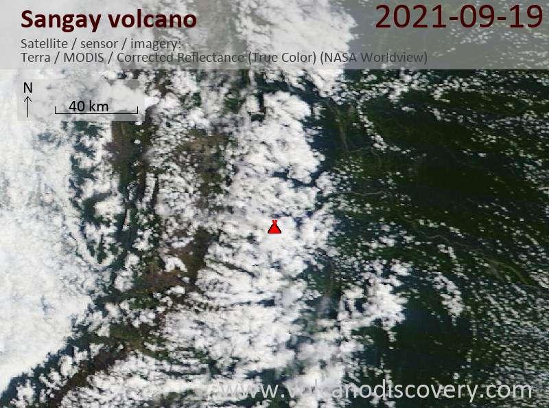 Satellitenbild des Sangay Vulkans am 20 Sep 2021