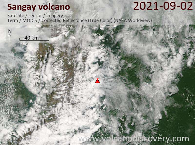 Satellite image of Sangay volcano on  3 Sep 2021