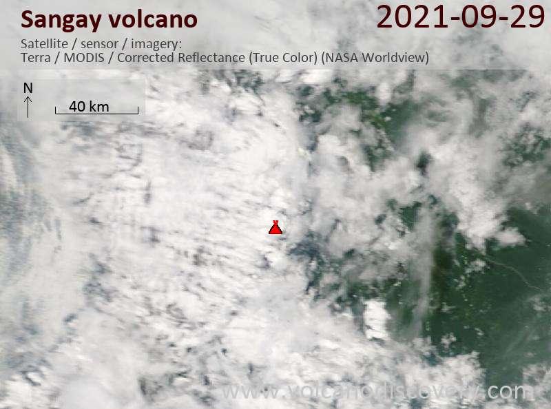 Satellite image of Sangay volcano on 30 Sep 2021