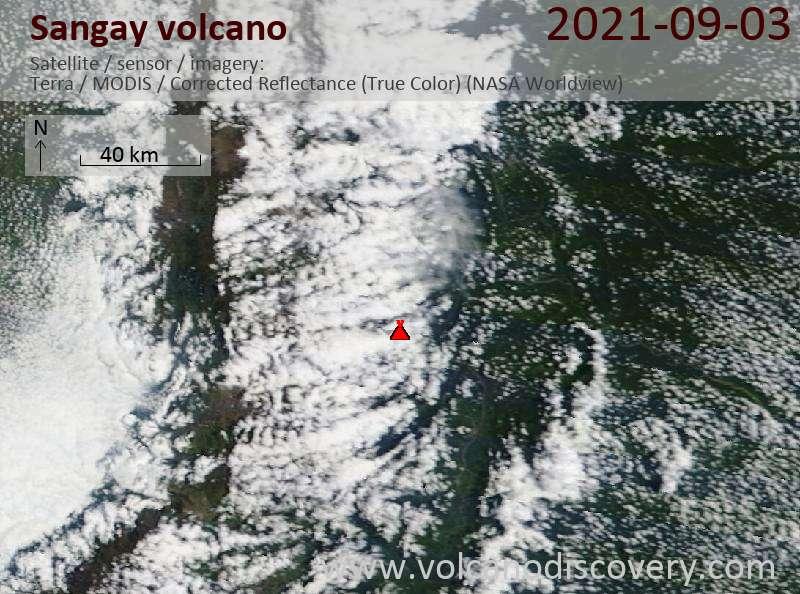 Satellite image of Sangay volcano on  4 Sep 2021