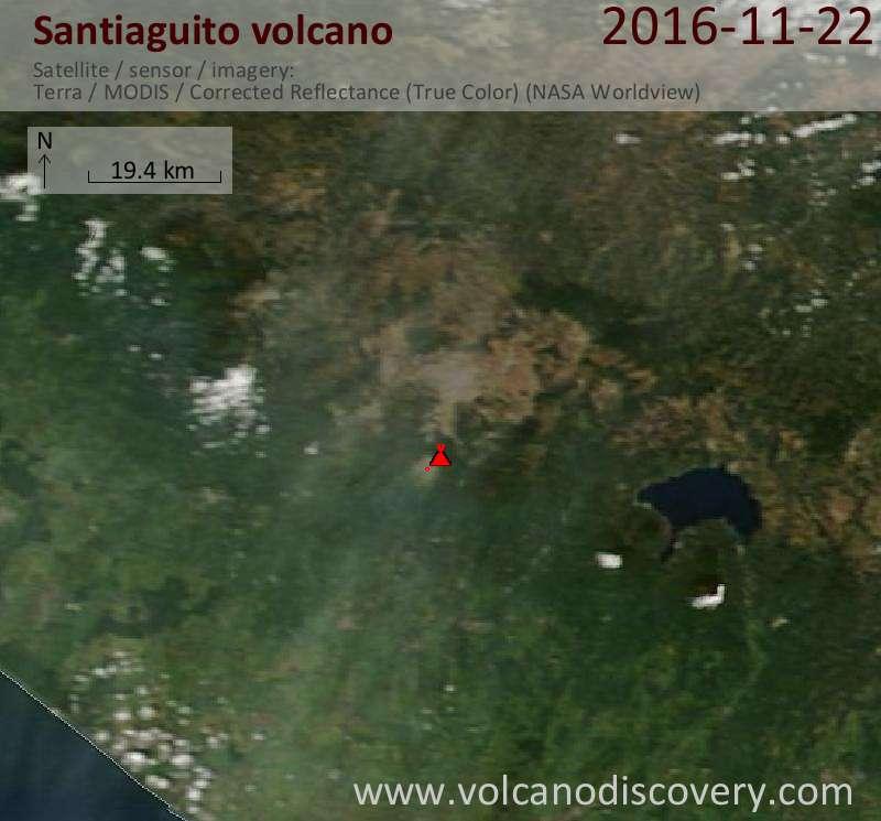 Satellite image of Santiaguito volcano on 22 Nov 2016
