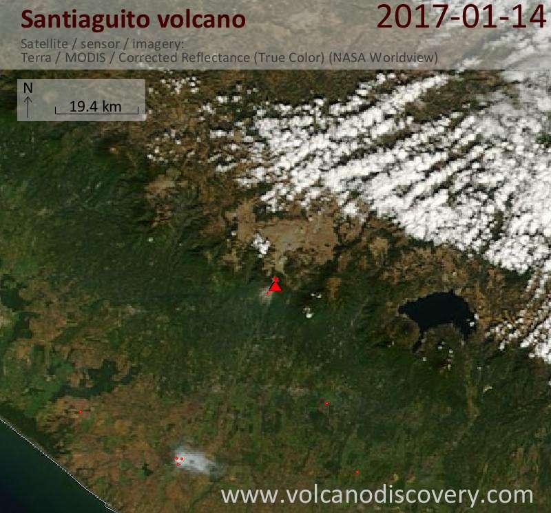 Satellite image of Santiaguito volcano on 14 Jan 2017