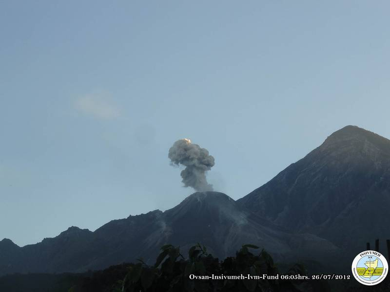 Explosion from Santiaguito early on 26 July