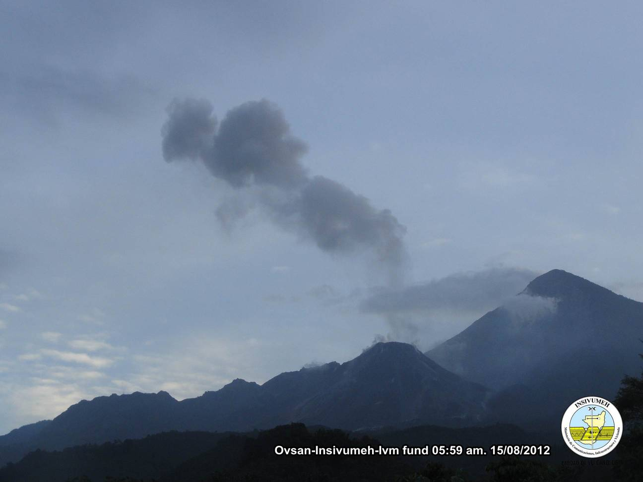 weak ash emission from Santiaguito early on 15 Aug