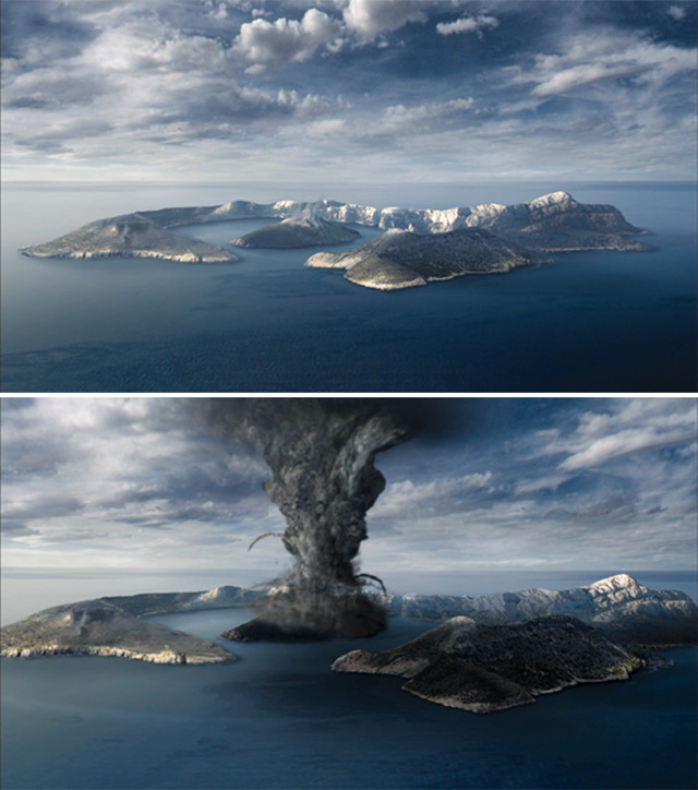 Artist's conception of the Minoan eruption of Santorini (Image: Cook and Abbott).