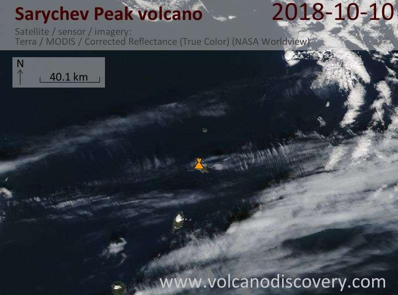 Satellite image of Sarychev Peak volcano on 10 Oct 2018