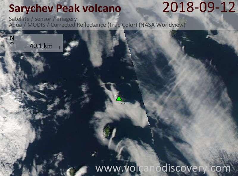 Satellite image of Sarychev Peak volcano on 12 Sep 2018