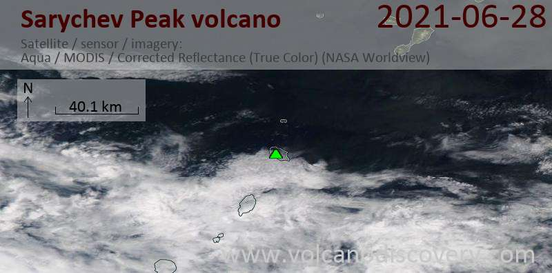 Satellite image of Sarychev Peak volcano on 29 Jun 2021