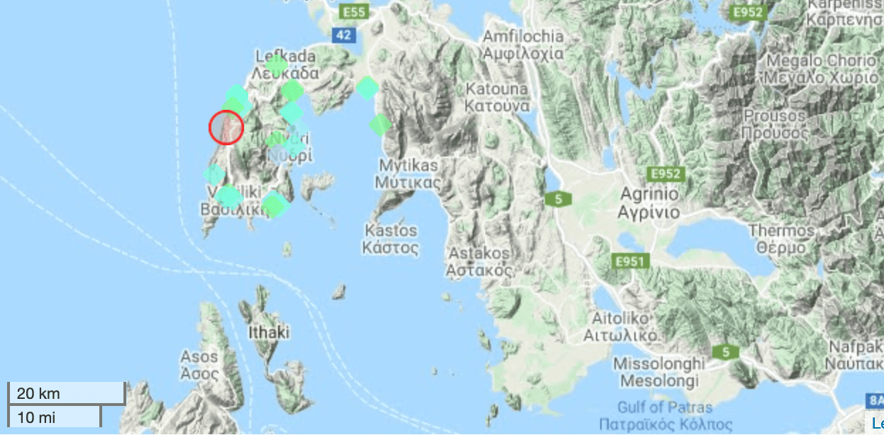This morning's quake near Lefkada island, Greece, and locations of users who reported to have felt it