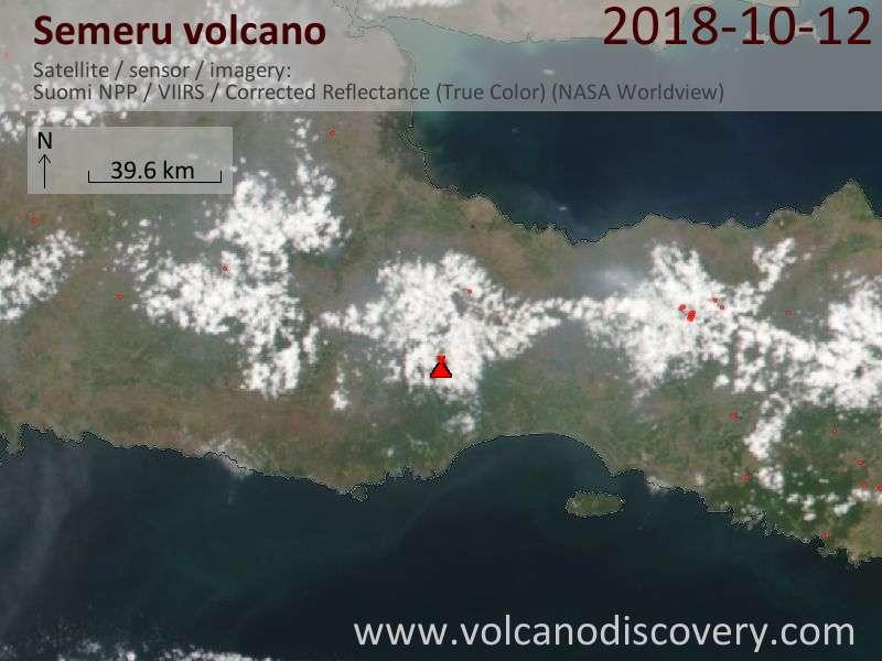 Satellite image of Semeru volcano on 12 Oct 2018