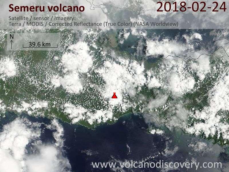 Satellite image of Semeru volcano on 24 Feb 2018