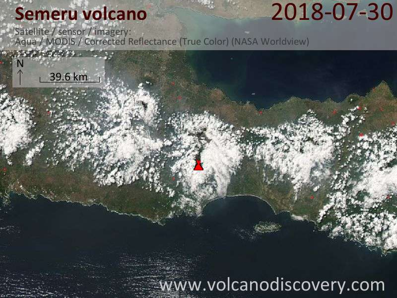 Satellite image of Semeru volcano on 30 Jul 2018