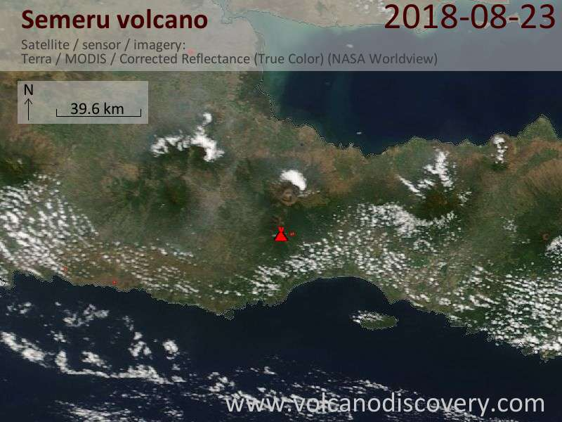 Satellite image of Semeru volcano on 23 Aug 2018